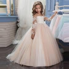 flower girl dress sleeve chagne lace flower girl dress baby