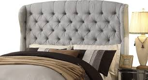linen headboard queen within feliciti gray tufted with wings