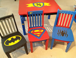 Superman Room Decor by Super Hero Inspired Wooden Painted Chair Chairs Pinterest