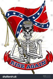 Rebel Flag Ford Skeleton Wearing Confederate Cap Flag Banner Stock Vector