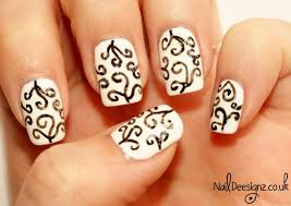 naildeesignz black u0026 white swirls nail art