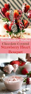 chocolate covered fruit baskets marshmallow chocolate covered strawberry heart bouquet with pink