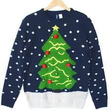 tree navy blue tacky sweater the