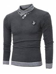 black sweater with white collar mens sweaters cardigans patch turtleneck competitive