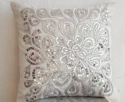 Ivory White Decorative Pillow With Silver Sequin Detail 16X16