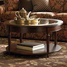 38 round coffee table bassett 6363 0605 round cocktail table with glass inset 38