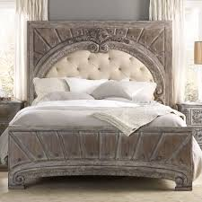 true vintage wood u0026 upholstered panel bed in whitewashed driftwood