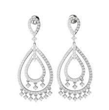 White Chandelier Earrings Chandelier White Gold Si1 Fine Diamond Earrings Ebay