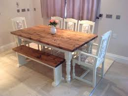 Rustic Bench Dining Table Shabby Chic Rustic Farmhouse Solid 8 Seater Dining Table Bench And