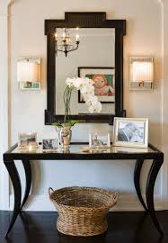 Entryway Sconces Chic Foyer With Black Mirrored Top Console Table With Wicker