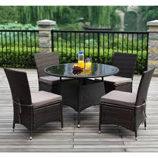 ksp social outdoor dining table u0026 chairs set of 5 espresso