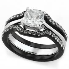 black wedding ring set tone 3 black stainless steel cushion cut cz engagement