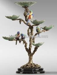 painted antique brass porcelain bird branch tree
