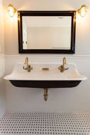 trough sink with 2 faucets kitchen designs vintage bathroom style with black and white
