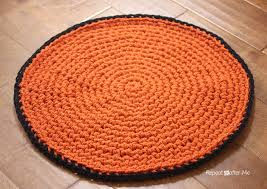 Free Crochet Patterns For Rugs Crochet Basketball Rug Repeat Crafter Me