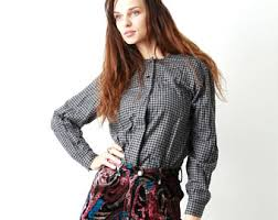 houndstooth blouse houndstooth blouse etsy