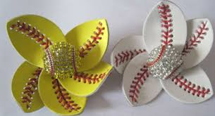 softball hair bows softball flower accessory and hair clip softball hair bows in hair