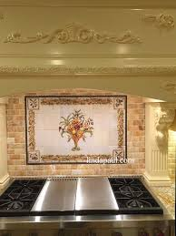 Kitchens With Tile Backsplashes Kitchen Tuscan Tile Murals Kitchen Backsplashes Tuscany Art Tiles