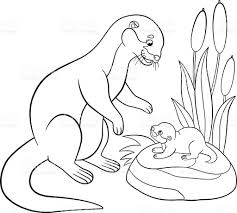 coloring pages mother otter looks at her cute baby stock vector