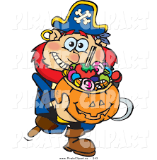 halloween basket vector clip art of a happy trick or treating pirate holding a