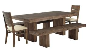 walnut wood flat eased dining tanle with wooden armless chairs and