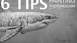 6 tips on painting photorealism great white shark youtube