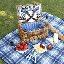 wine picnic baskets vonshef 4 person wicker picnic with flatware plates and