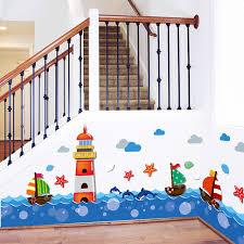 kinderzimmer wandbilder shijuehezi marine taille fußleiste aufkleber vinyl diy innen