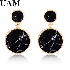 black dangle earrings unique design geometric black marble faux drop