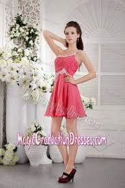one shoulder short coral red junior grad dresses
