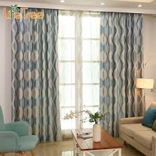 Pattern Drapes Curtains Blue Wave Modern Blackout Curtains For Bedroom Living Room Window
