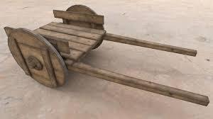 wooden cart 3d cgtrader