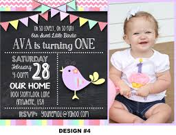 Baby First Birthday Invitation Card Little Birdie Birthday Invitation Sweet Bird Invitation
