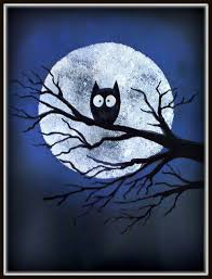 plateau art studio halloween owl blue paint around moon