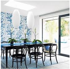 Dining Room Accents Blue And White Floral Wallpaper Accent Wall In Dining Room