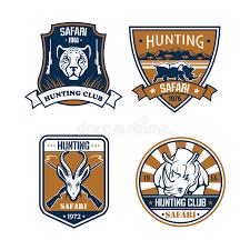 hunter sports fan series hunting safari hunter sport club vector icons set stock vector