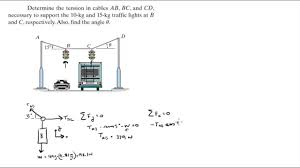 determine the tension in cables ab bc cd and angle u