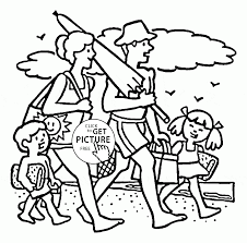 the family goes to the beach coloring page for kids summer