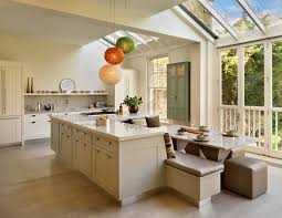 Modern L Shaped Kitchen With Island by Kitchen Island With Bar Seating Table Attached Picture Window