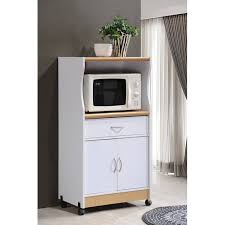 small kitchen cabinets walmart hodedah microwave kitchen cart white