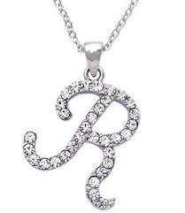 clear crystal cursive writing initial letter r pendant necklace