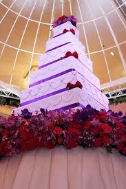 tier white and purple square wedding cake stock image image