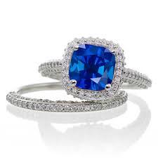 2 carat cushion cut designer sapphire and diamond halo wedding