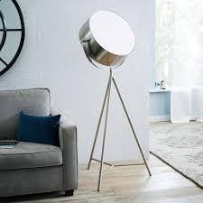 Brushed Silver Floor Lamp Spotlight Metal Tripod Floor Lamp The Green Head