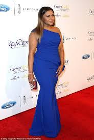mindy kaling stuns in royal blue dress at gracie awards gala in