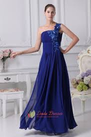 one shoulder chiffon gown with floral appliques royal blue prom