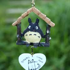 japanese totoro wooden house garden outdoor home decor wind chime