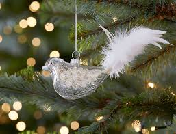 woodland glass bird decorative with feather glitter white