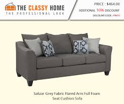 salizar grey fabric flared arm full foam seat cushion sofa new