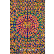 Tapestry On Bedroom Wall Floral Psychedelic Hippie Mandala Tapestry Wall Hanging Dorm And